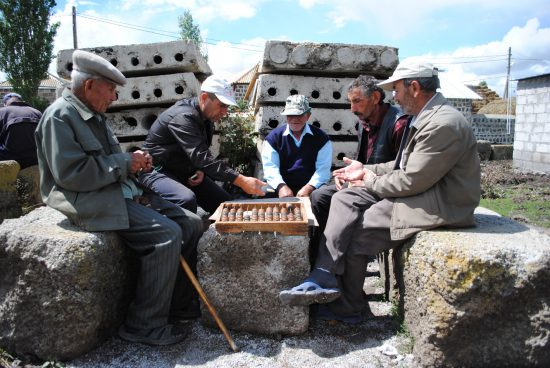 This is the tradition of the village - on the small square in the center, people always play domino. You can find Gazar Khanoyan here.